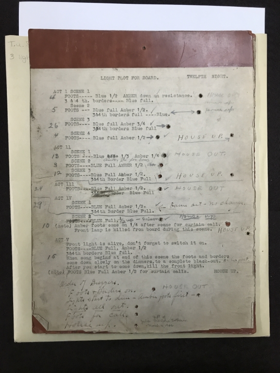 Stage-lighting guide for Sothern and Marlowe productions of Twelfth night, Taming of the shrew, Hamlet, Merchant of Venice, and Romeo and Juliet [manuscript], [19th or 20th century].