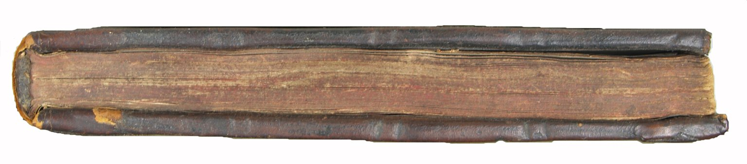Detail of bottom fore-edge and board edges that are tooled with blind double lines (some crisscrossed), D18.K6 1600 Cage.