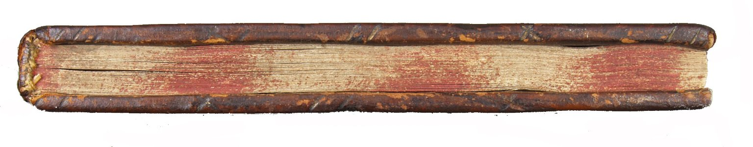 Top edge with diagonal and crossed tooling with alternating yellow and red sprinkled edge decoration, STC 12908 copy 1.