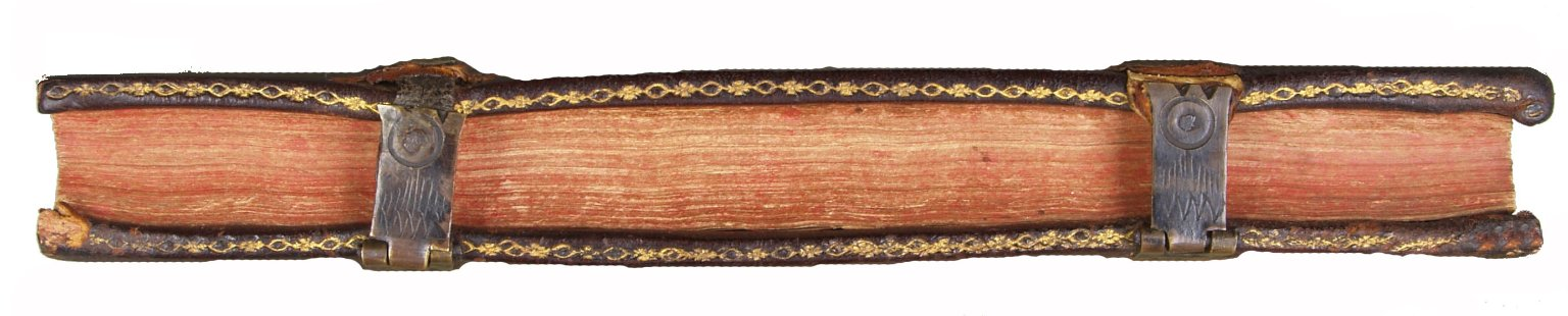 Fore-edge with hasps clasping the back cover as well as red edge decoration, STC 15142 copy 2.