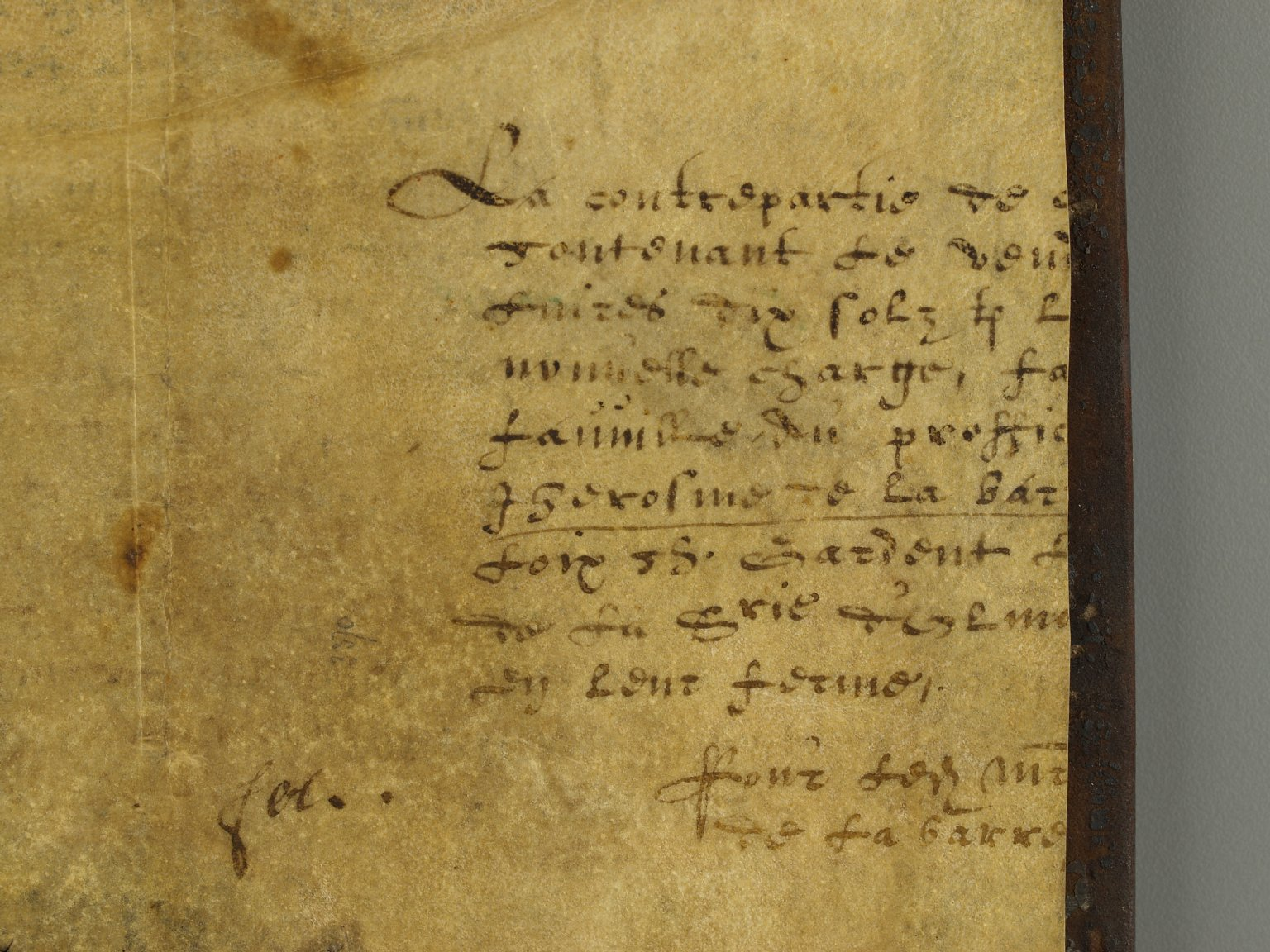 Vellum manuscript paste-down (detail), INC B688.