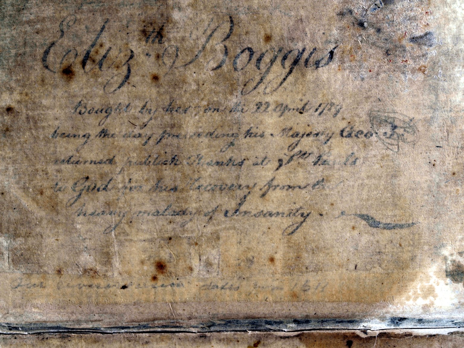 Provenance inscription hidden under paste-down, STC 2129.