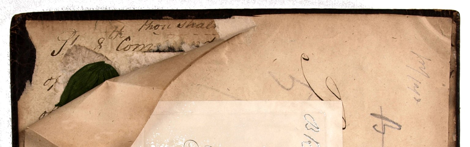 Original paste-down and tie fragment, STC 3252.