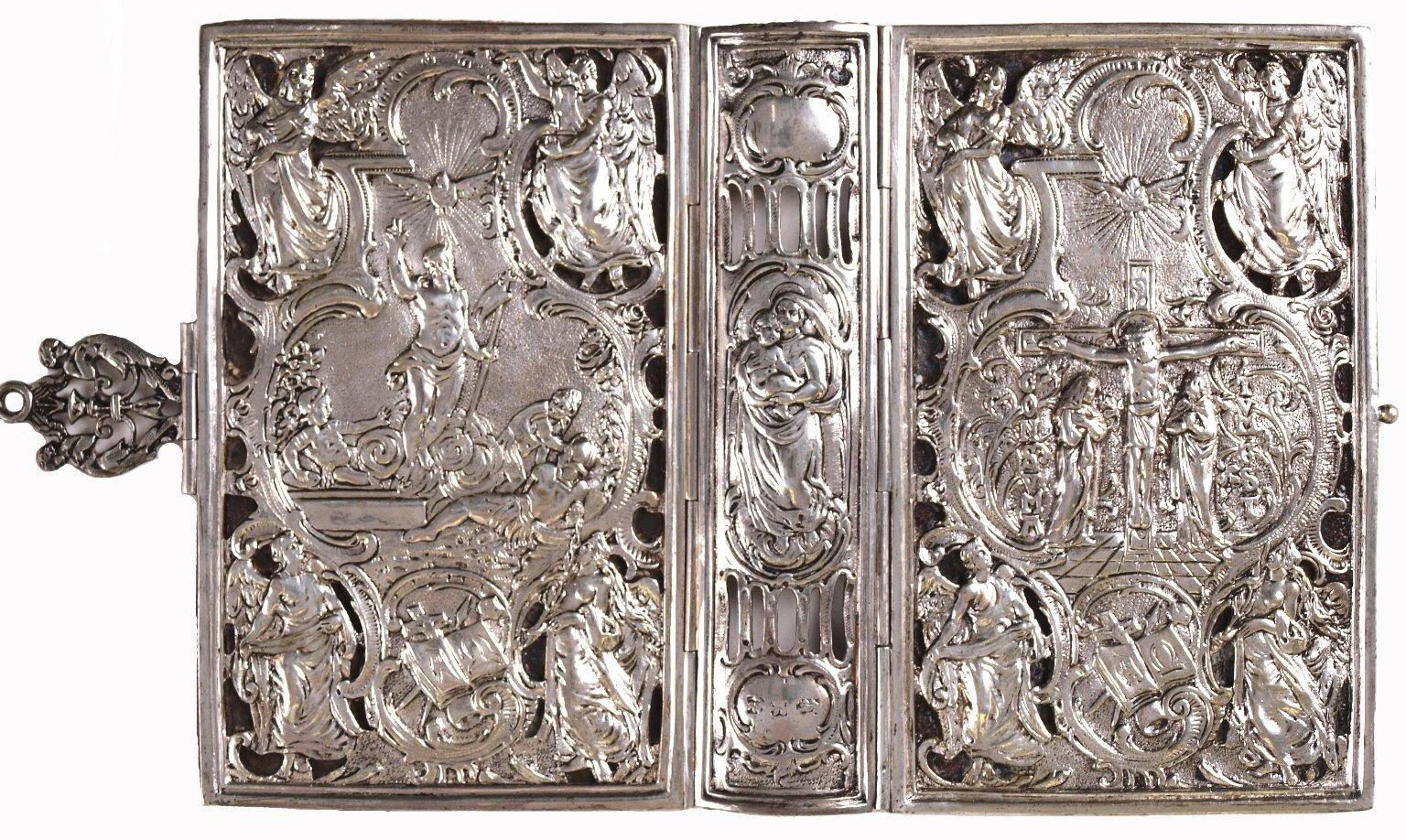 Open silver book cover, STC 3492.
