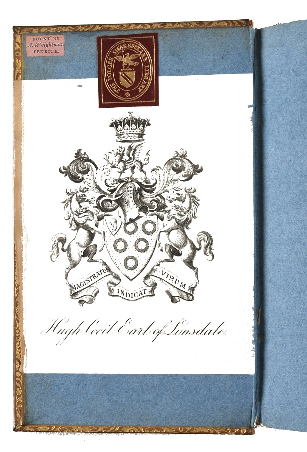 Inside front cover with binder's ticket, STC 7366.2.