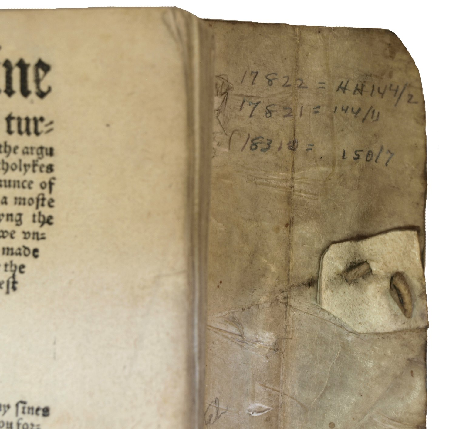 Inside front cover flap, STC 17822.