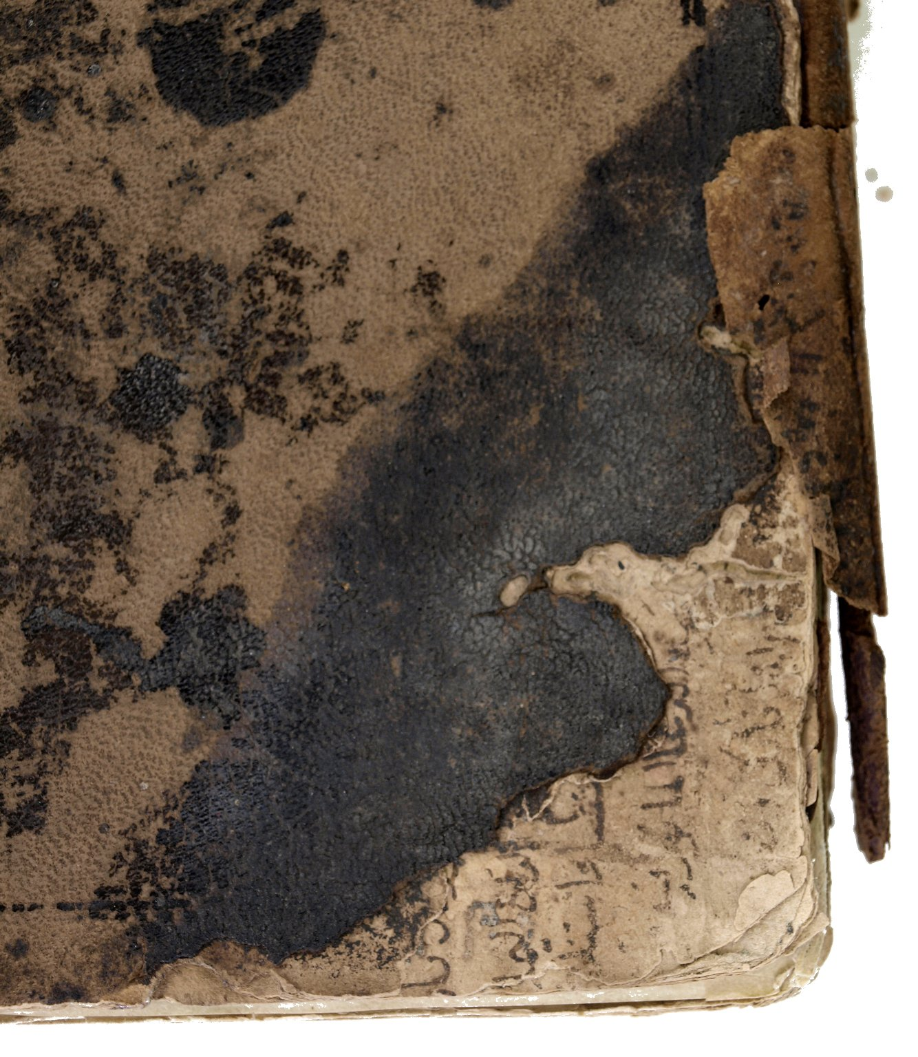 Manuscript inside boards (detail), V.b.315.