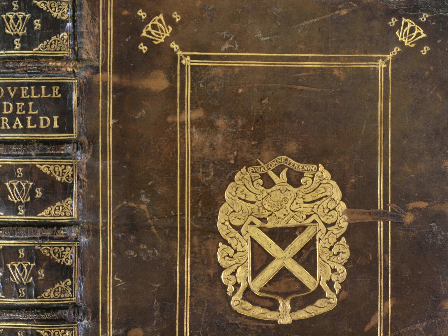 Coat of arms and tooling (detail), PQ4624 H4 1580 copy 1 cage.