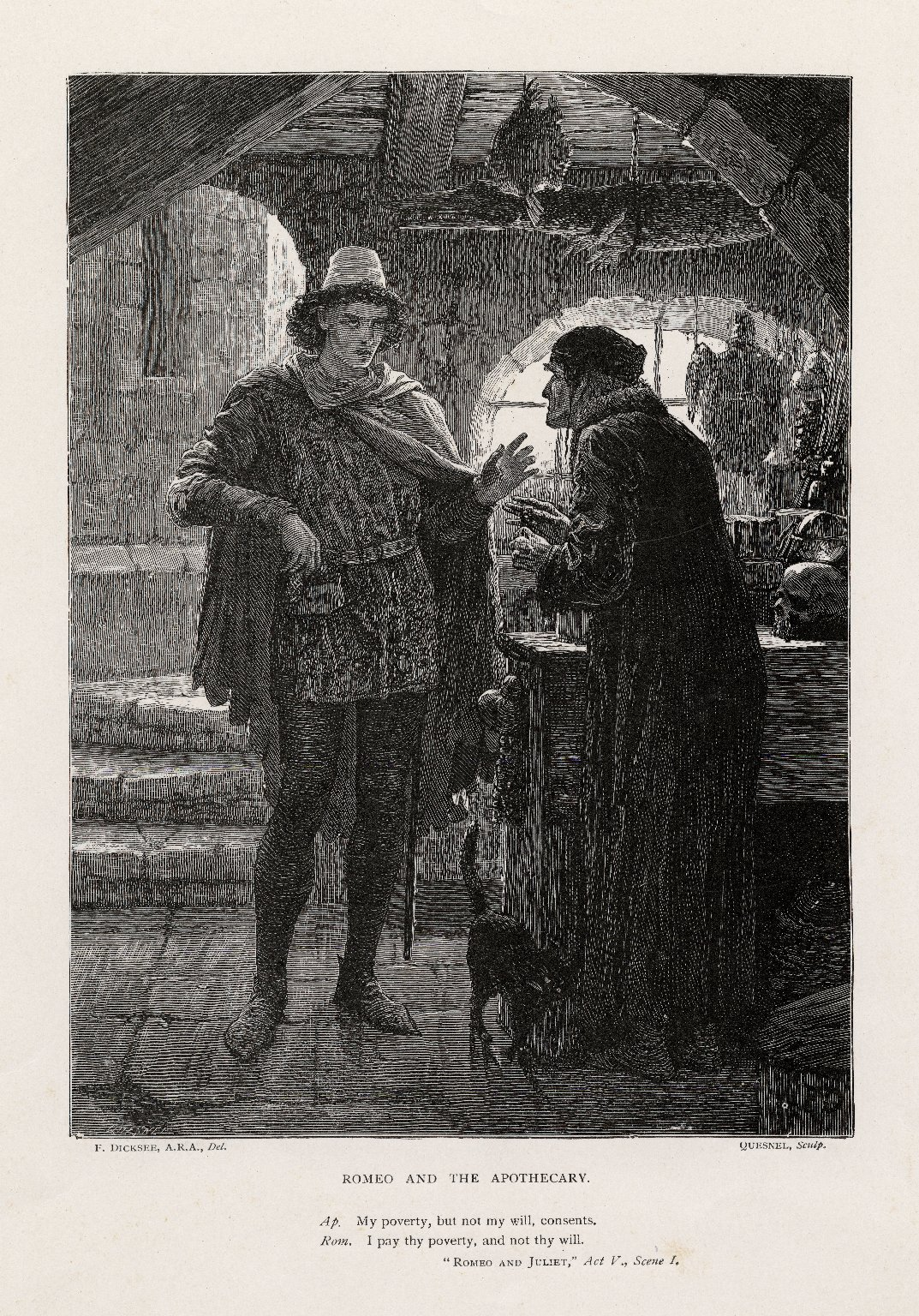 Romeo and the Apothecary, Romeo and Juliet, act V, scene I [graphic] / F. Dicksee, A.R.A., del. ; Quesnel, sculp.