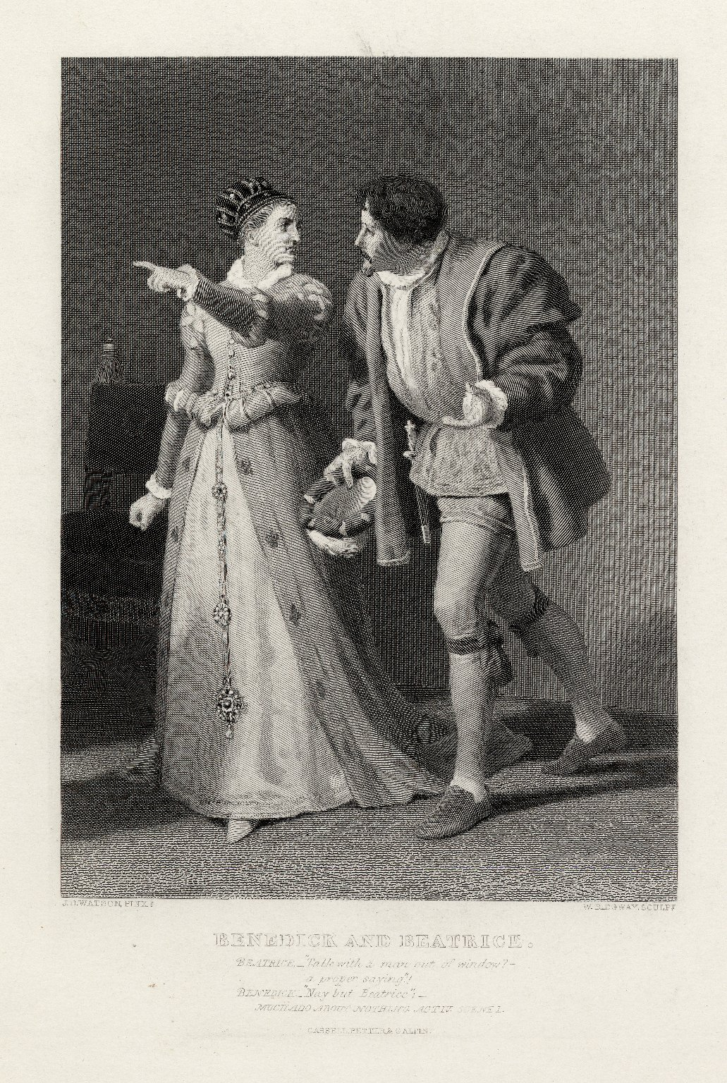 Benedick and Beatrice ... Much ado about nothing, act IV, scene 1 [graphic] / J.D. Watson, Pinxt. ; W. Ridgeway, Sculpt.
