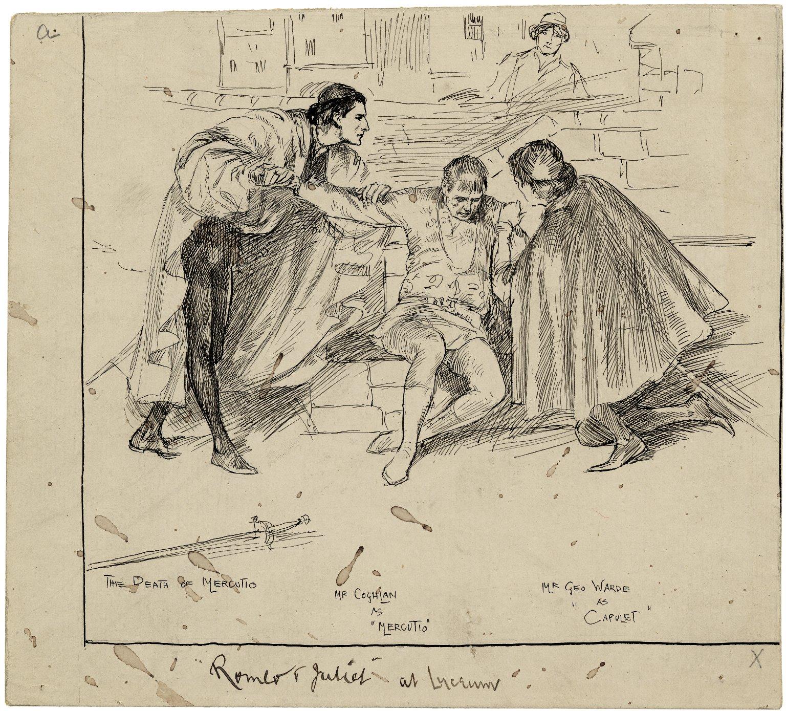 Romeo & Juliet at Lyceum : [graphic] The death of Mercutio, Mr. Coghlan as Mercutio, Mr. Geo. Warde as Capulet / [Frederick Pegram].