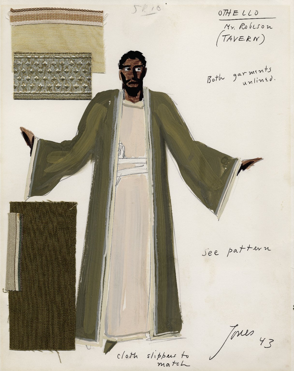 Othello costume sketch for Paul Robeson