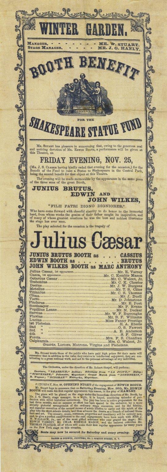 Playbill for Julius Caesar, Nov. 25, 1864