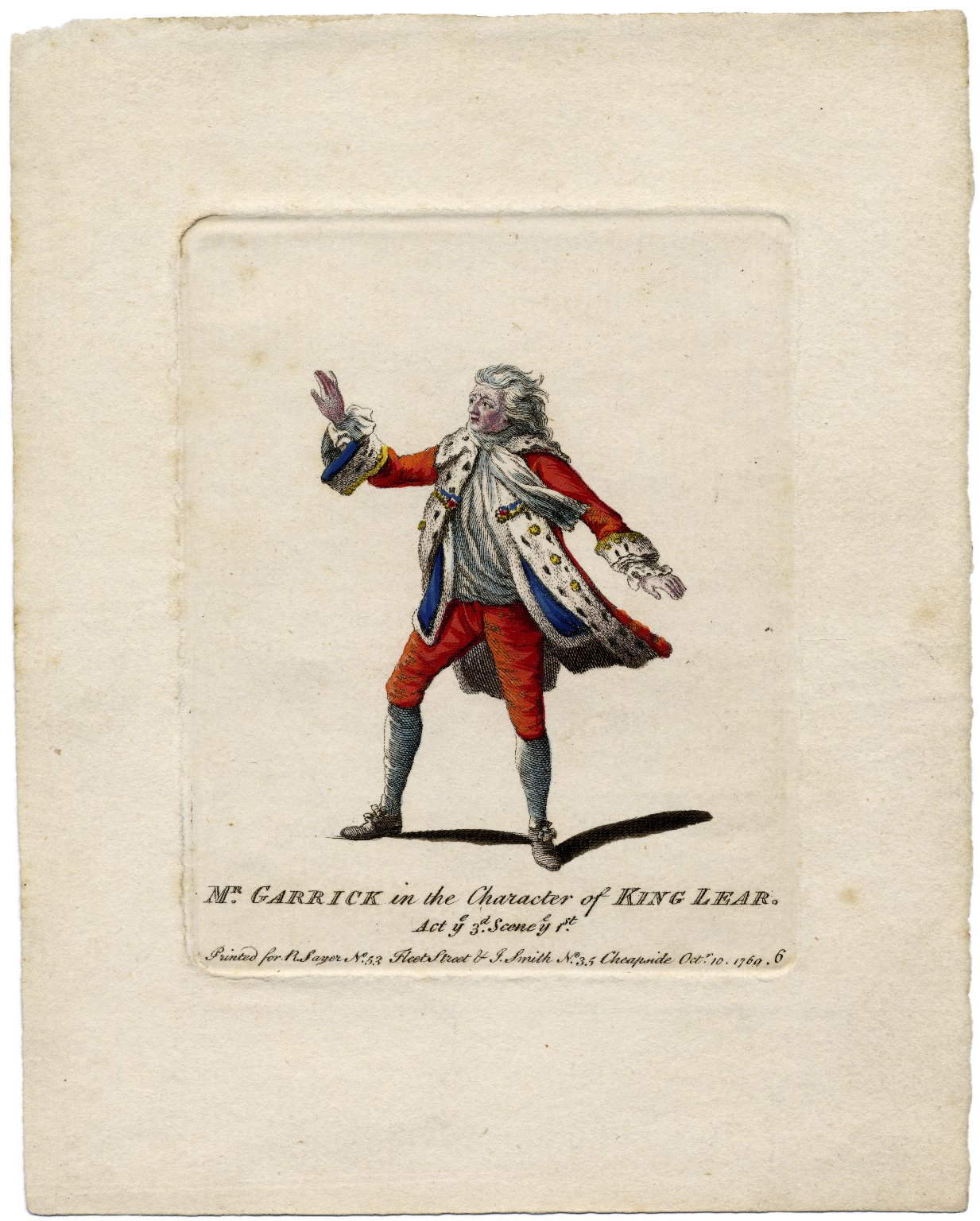 Mr. Garrick in the character of King Lear [in Shakespeare's King Lear], act [the] 3d., scene [the] 1st [graphic].