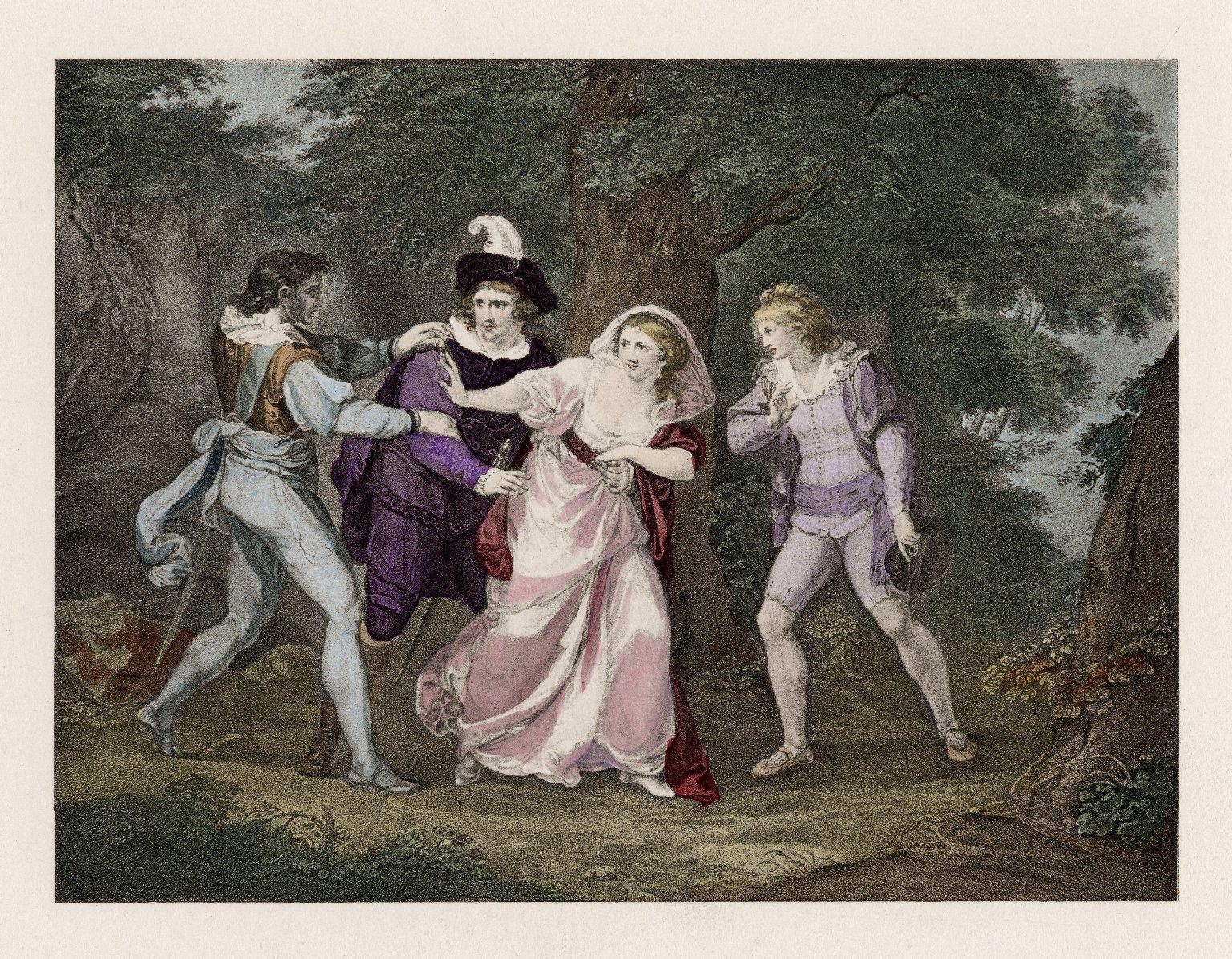 [Two gentlemen of Verona, Valentine, Proteus, Silvia, & Julia, act V, scene IV] [graphic] / [Kauffman del.].