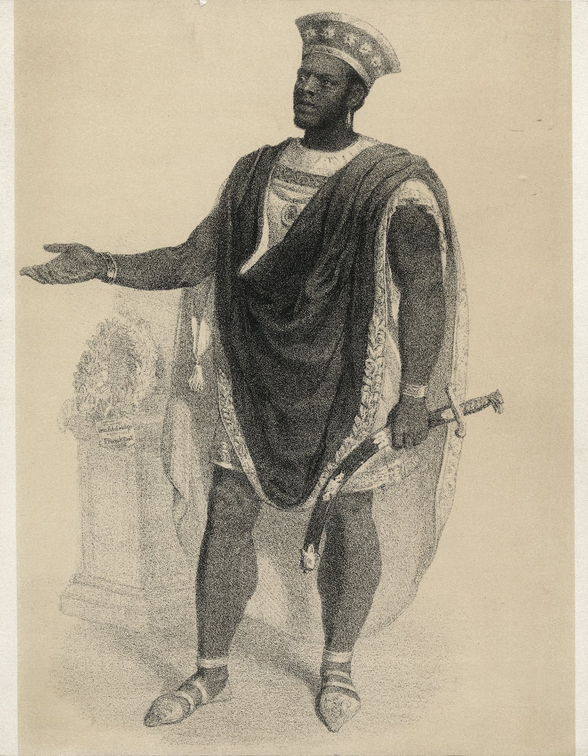 Ira Aldridge als Othello [graphic] / n.e. Lichtbild v. J. Chailloux ; Steindruck von S. Bühler in Mannheim.