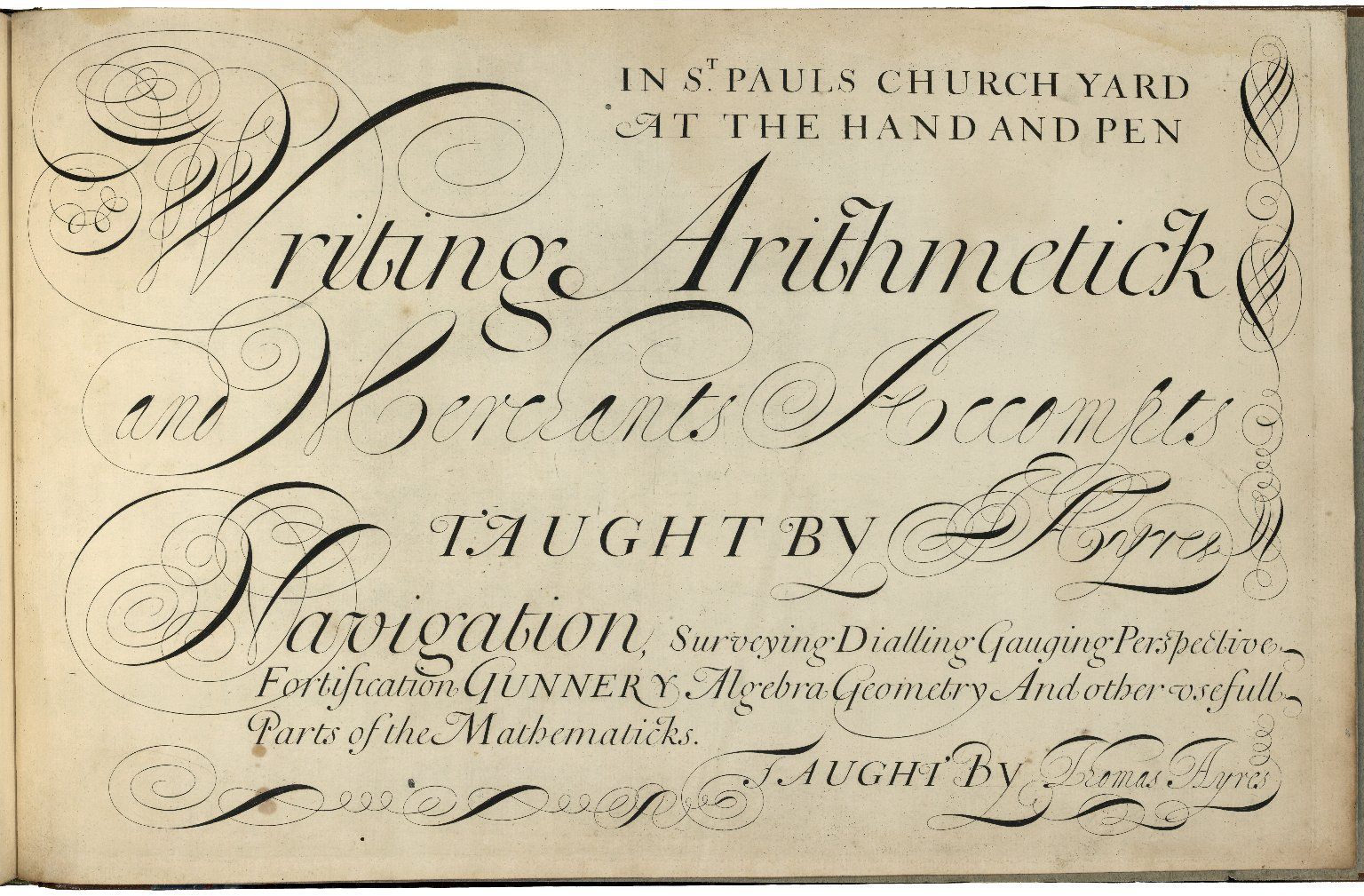 A tutor to penmanship, or, The writing master a copy shewing all the variety of pemanship and clerkship as now practised in England : in II parts / by John Ayres.