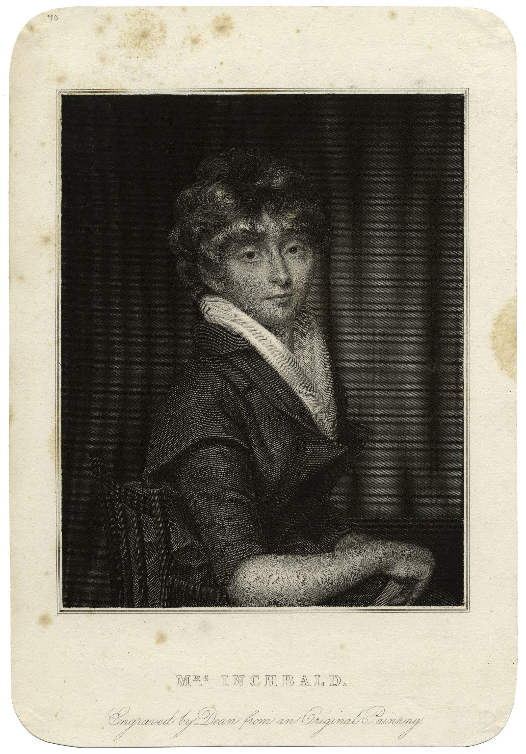 Mrs. Inchbald [graphic] / engraved by Dean from an original painting.