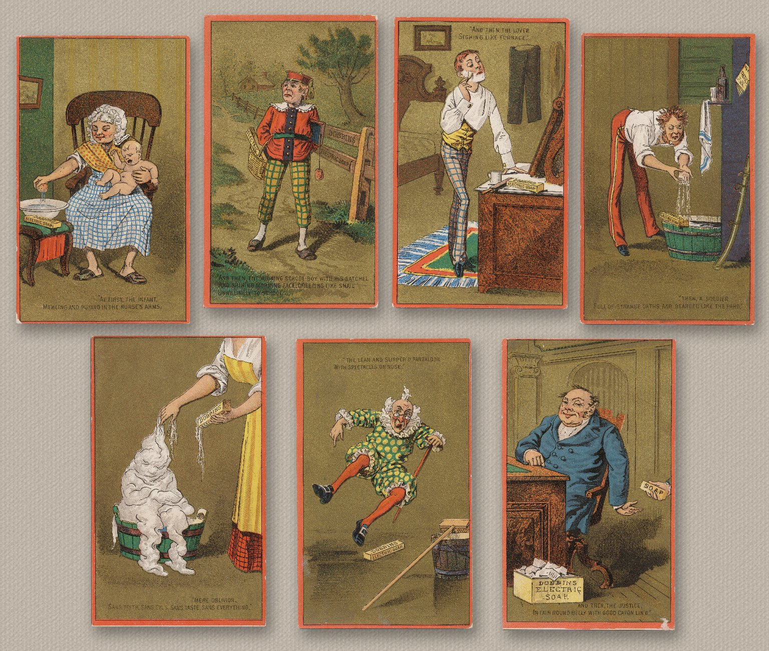 Dobbins Electric Soap Cards: Seven Ages of Man