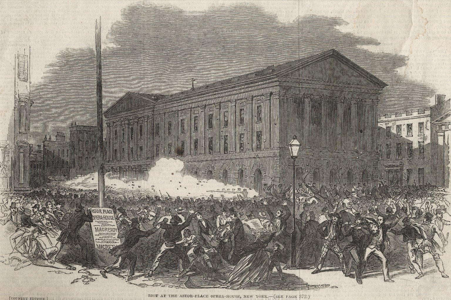 Riot at the Astor-Place Opera-House, New York (see page 372) [graphic].