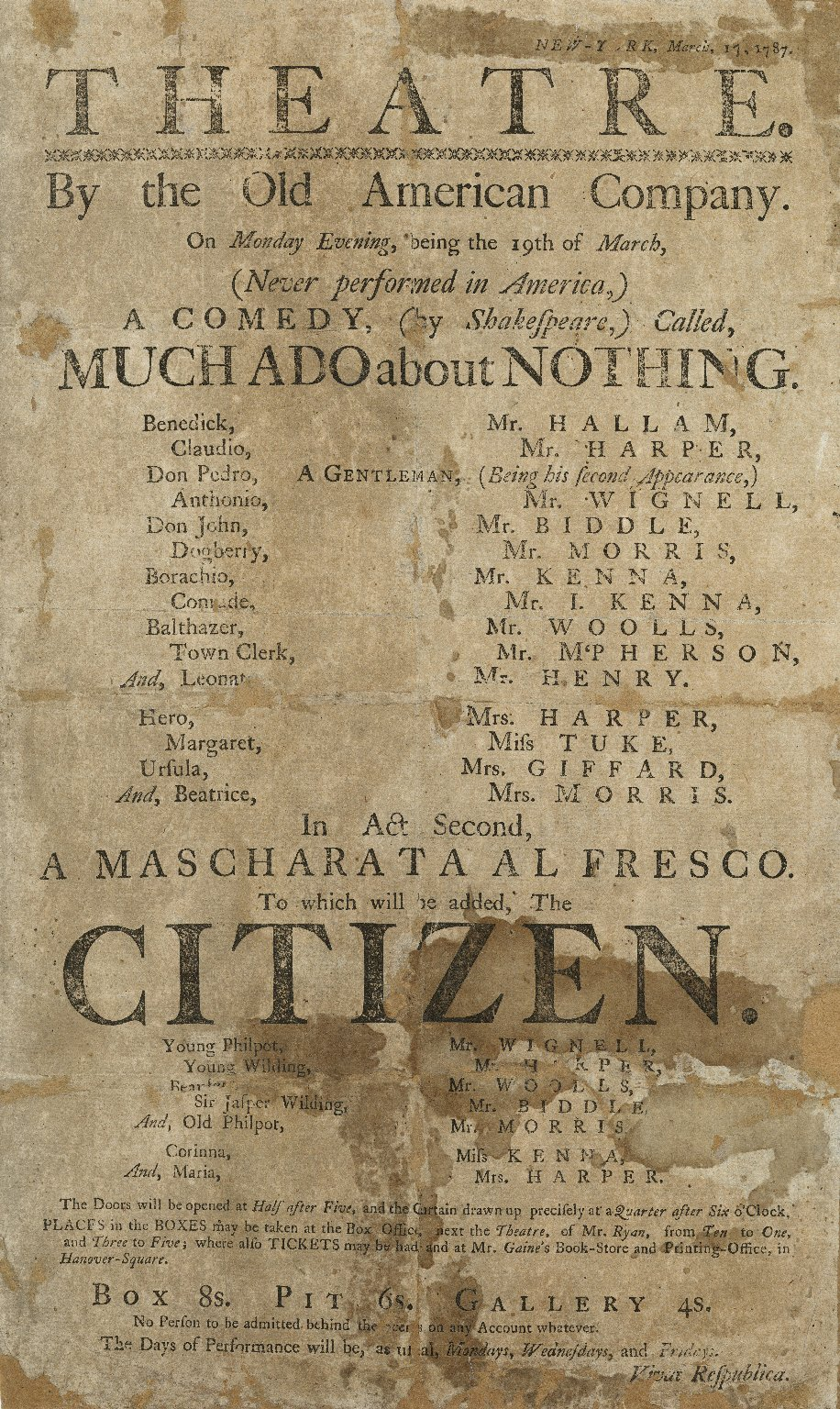 Playbill for Much Ado About Nothing