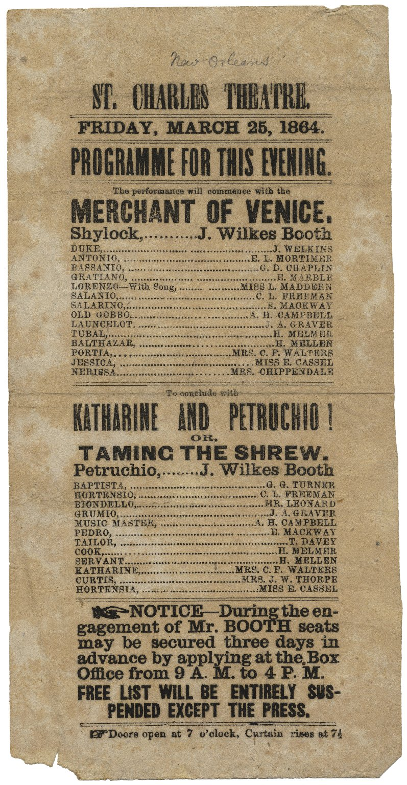 Merchant of Venice playbill, St. Charles Theatre, Friday March 25, 1864