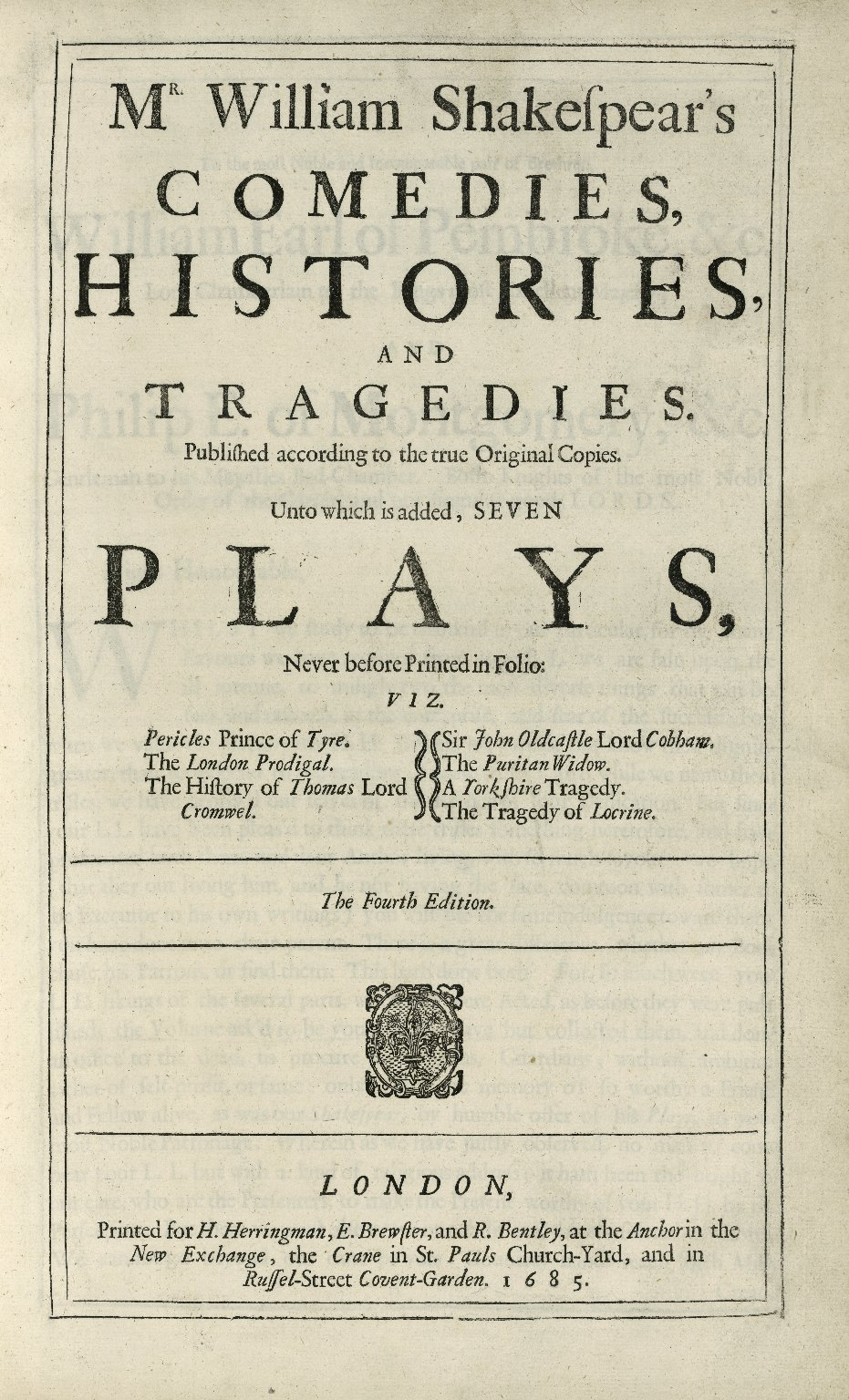Mr. William Shakespear's comedies, histories, and tragedies…