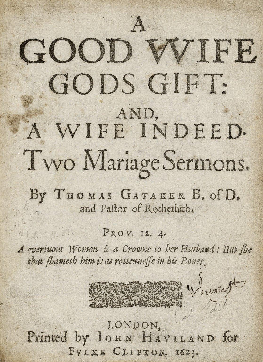 A good vvife Gods gift: and, a vvife indeed…