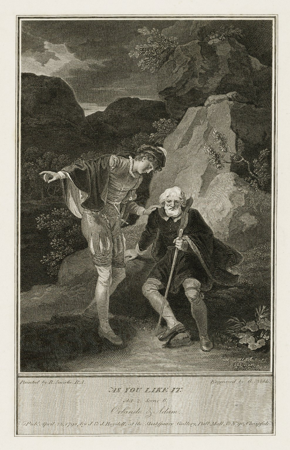 As you like it, act 2, scene 6, Orlando & Adam [graphic] / painted by R. Smirke, R.A. ; engraved by G. Noble.