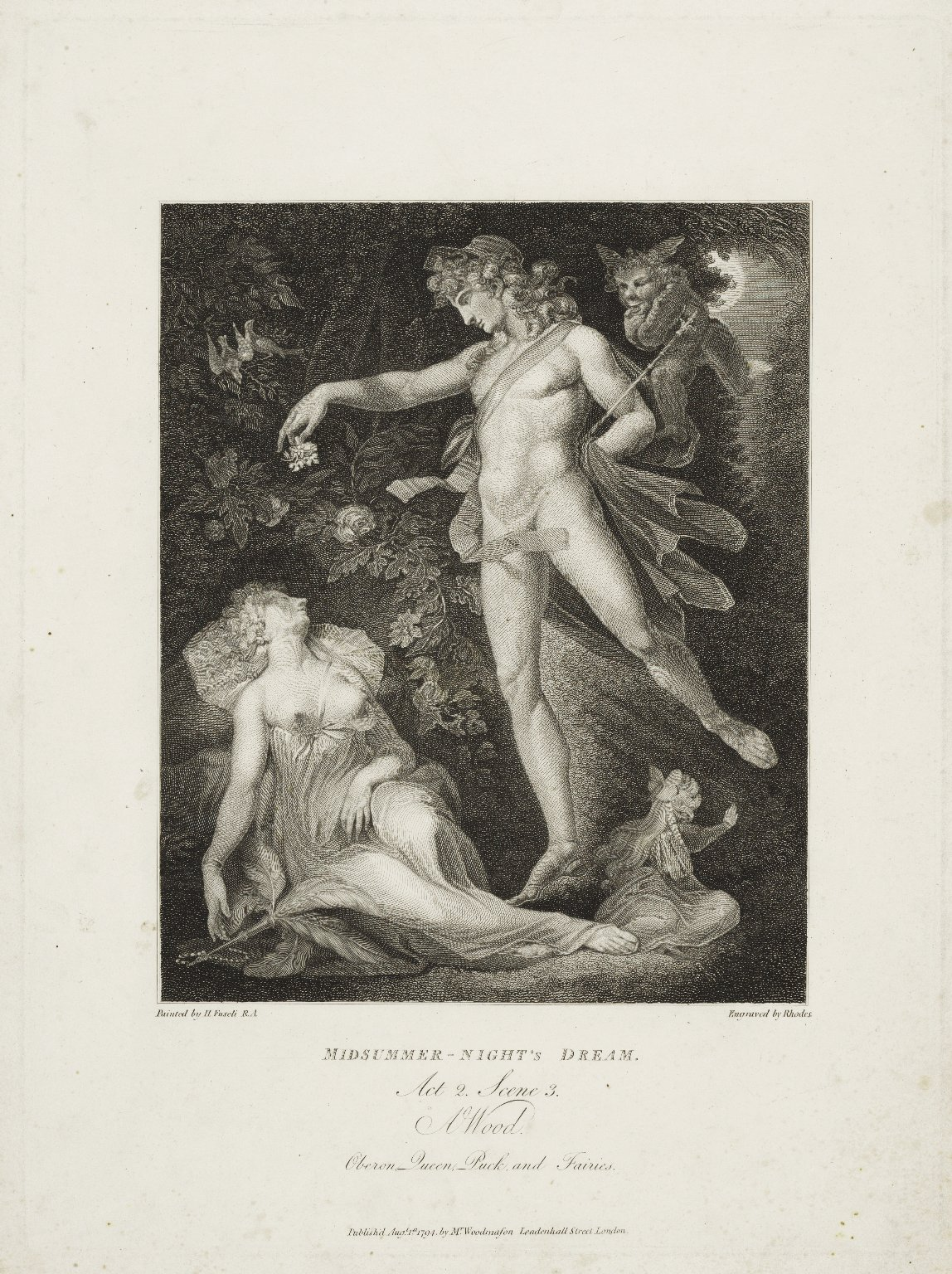 Midsummer-night's dream, act 2, scene 3 [i.e. 2] a wood, Oberon, Queen, Puck, and fairies [graphic] / painted by H. Fuseli R.A. ; engraved by [Richard] Rhodes.