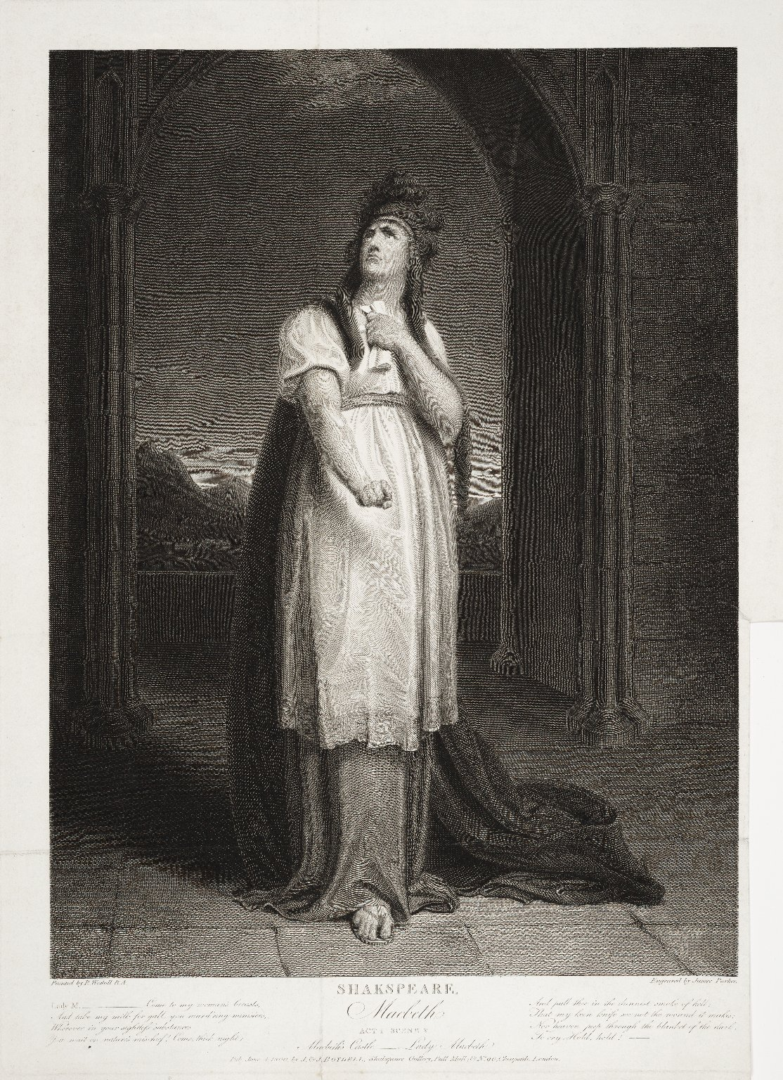 Macbeth, act I, scene V, Macbeth's castle -- Lady Macbeth [graphic] / painted by R. Westall ; engraved by James Parker.