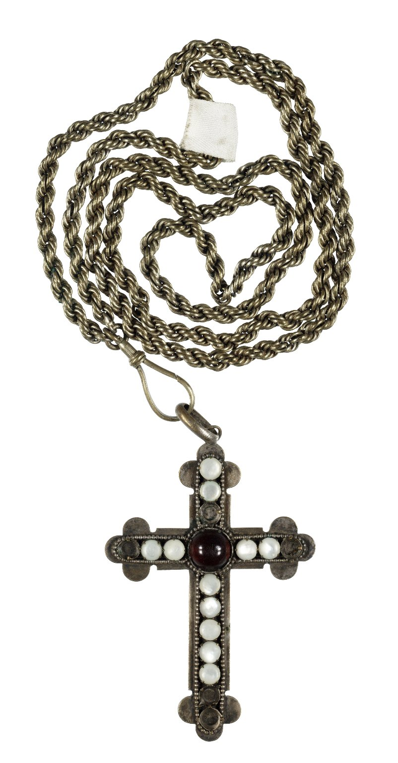 Brass chain and cross with white stones used by Adelaide Neilson in As You Like It