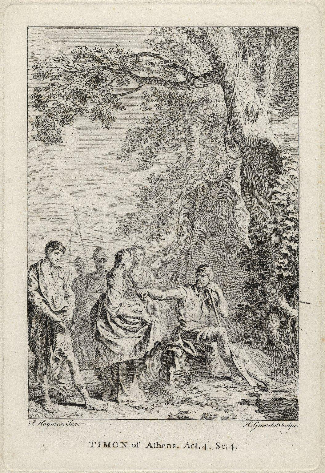Timon of Athens, act 4, sc. 4 [i.e. scene 3] [graphic] / F. Hayman inv. ; H. Gravelot sculps.