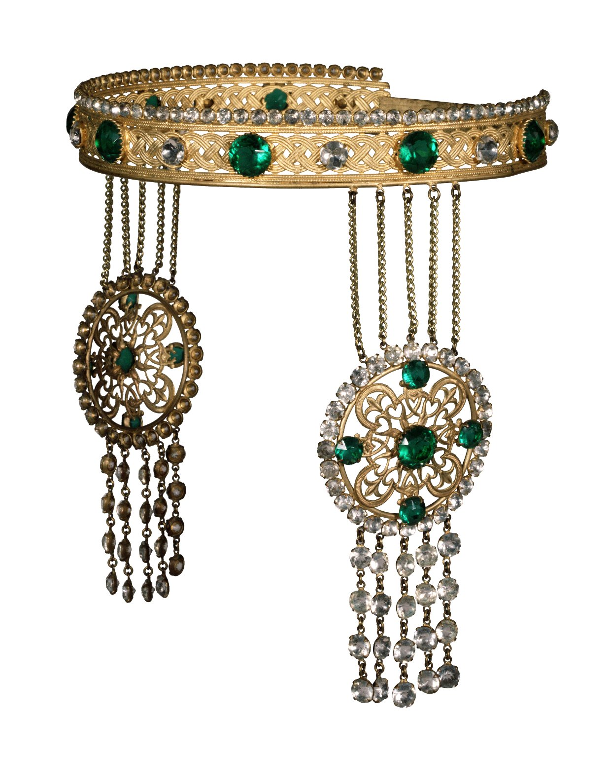 Crown with faux diamonds and emeralds worn by Marie Drofnah (Mrs. Charles B. Hanford) as Hermione in Winter's Tale