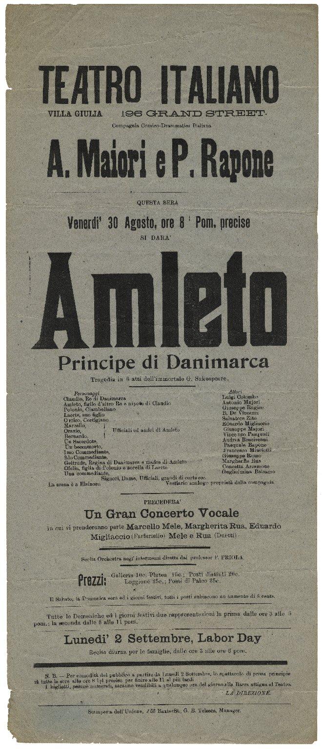 Teatro Italiano . . . Amleto Principi Danimarca [playbill].