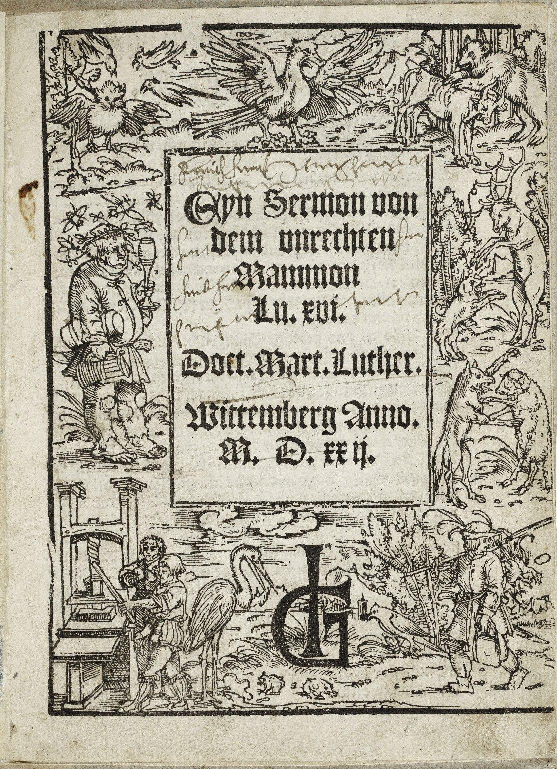 Eyn Sermon von dem vnrechten Mammon Lu. xvi / Doct. Mart. Luther.