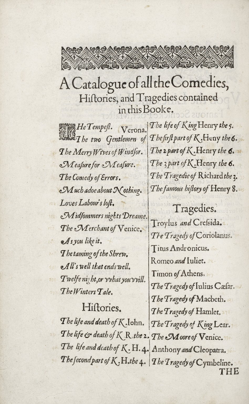 Mr. VVilliam Shakespeares comedies, histories, and tragedies