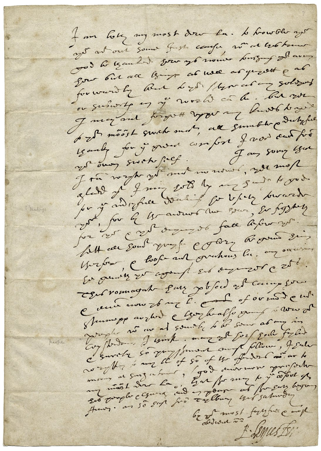 """Autograph letter signed to Queen Elizabeth I about the Spanish Armada, signed """"R. Leycester"""""""