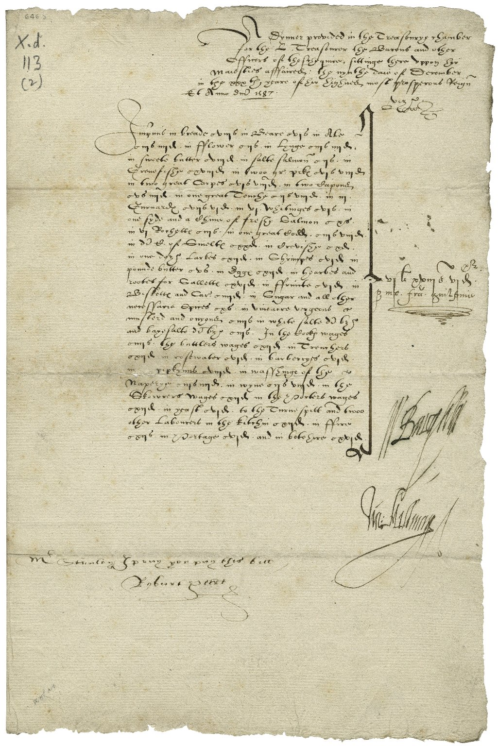 2 papers - expenses of the diet provided, for 2 dinners [manuscript], June 30, 1586 and December 9, 1587.