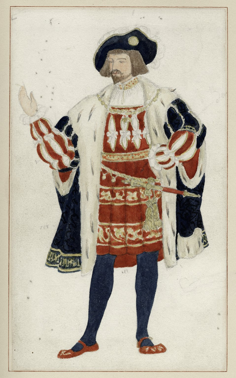 Watercolor drawing for costume of King of Navarre [in Augustin Daly's production of Love's Labour's Lost]