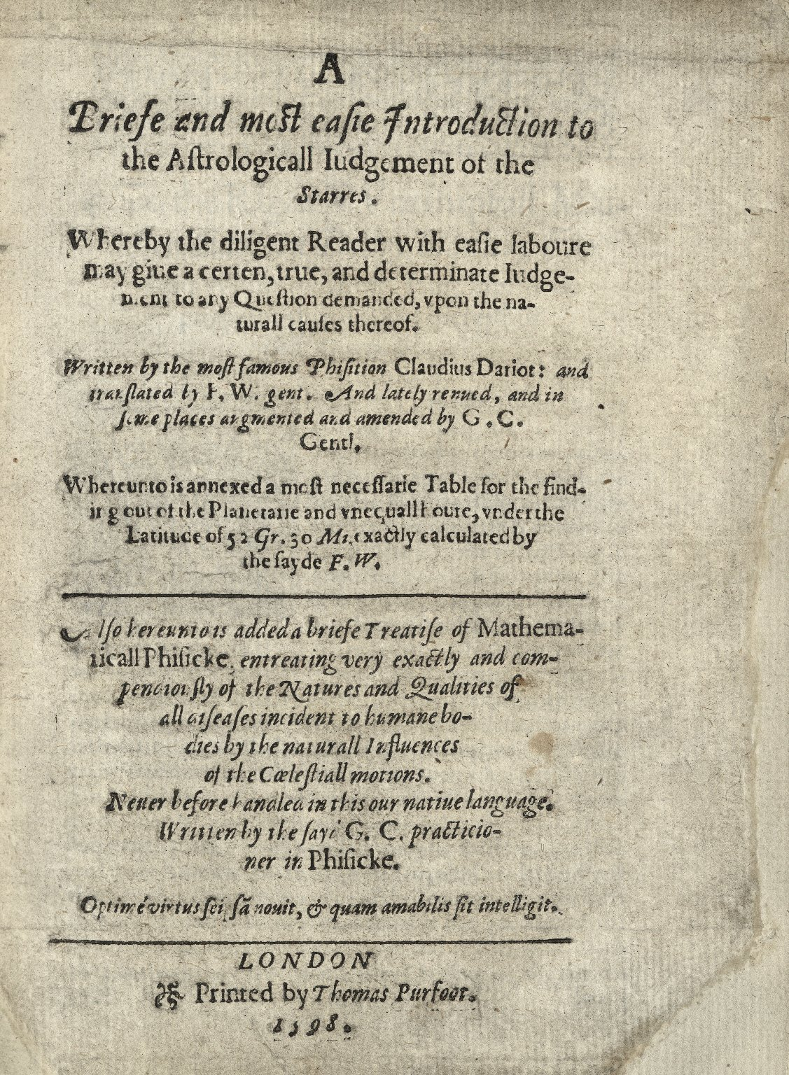 A briefe and most easie introduction to the astrologicall iudgement of the starres.