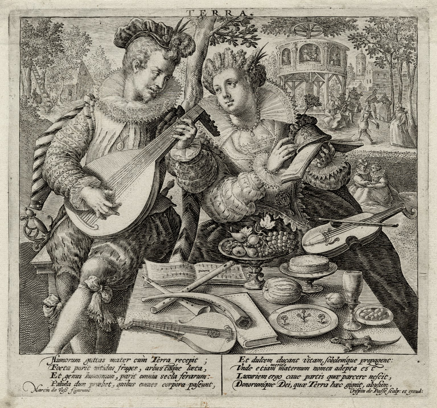 Terra [graphic] / Martin de Voss figurauit ; Crispin de Passe scalp. [sic] et excud.