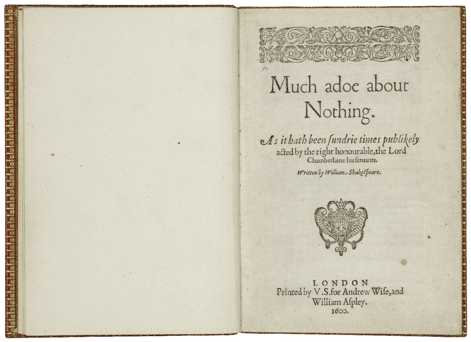 [Much ado about nothing] Much adoe about nothing. As it hath been sundrie times publikely acted by the right honourable, the Lord Chamberlaine his seruants.