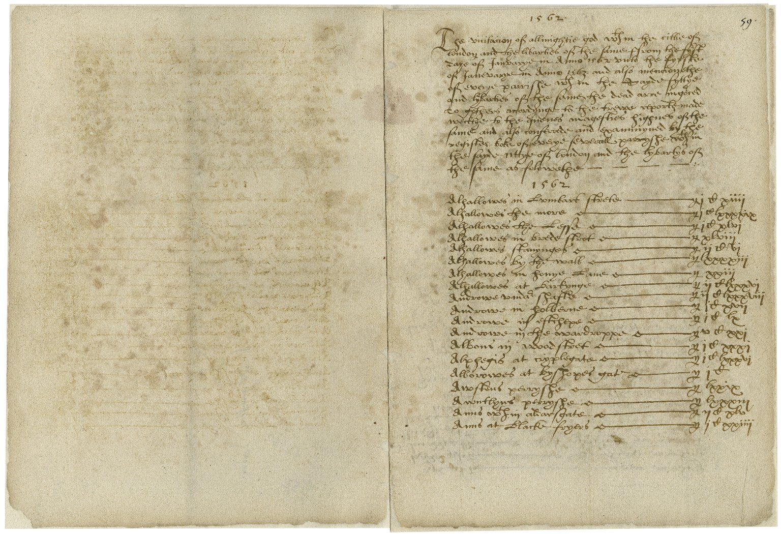Summary of the bills of mortality based on the weekly returns supplied by the parishes within the city of London and its liberties and Westminster [manuscript], January 1, 1563-January 1, 1564