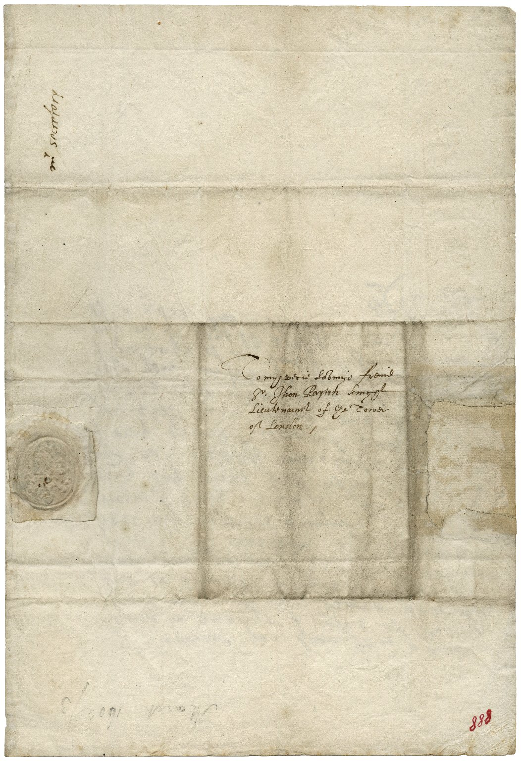 Autograph letter signed [manuscript]: to Sir John Peyton, lietuenant of the Tower of London