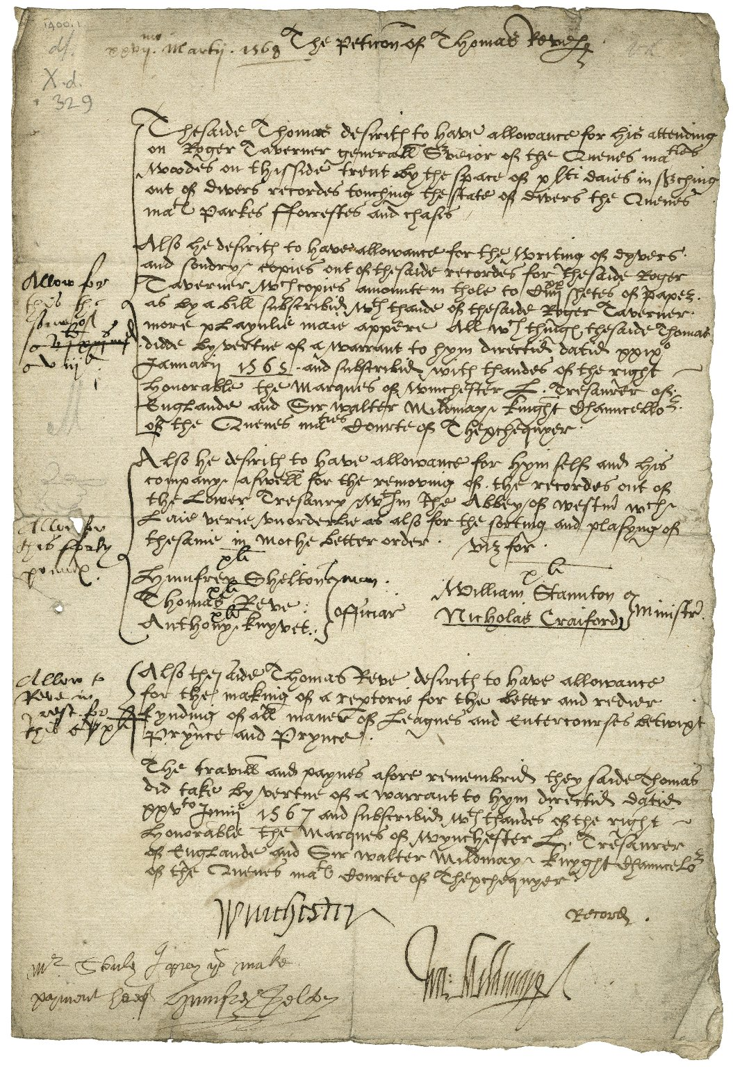 Allowance of £58 to Thomas Reve, upon his petition, signed by Winchester, Lord Treasurer, and Sir Walter Mildmay, Chancellor of the Exchequer