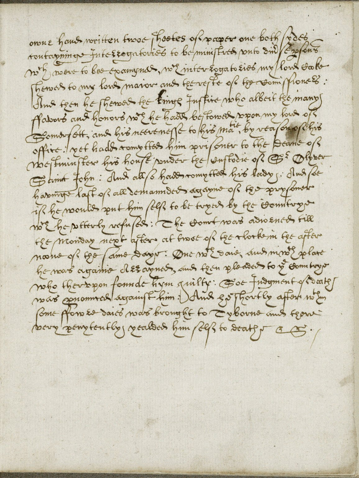 The arraignement of Richard Weston yeoman at the Gild Hall London the vivth daye of October 1615 for the poysoninge of Sr Thomas Overberye Knight prisoner in the Tower.