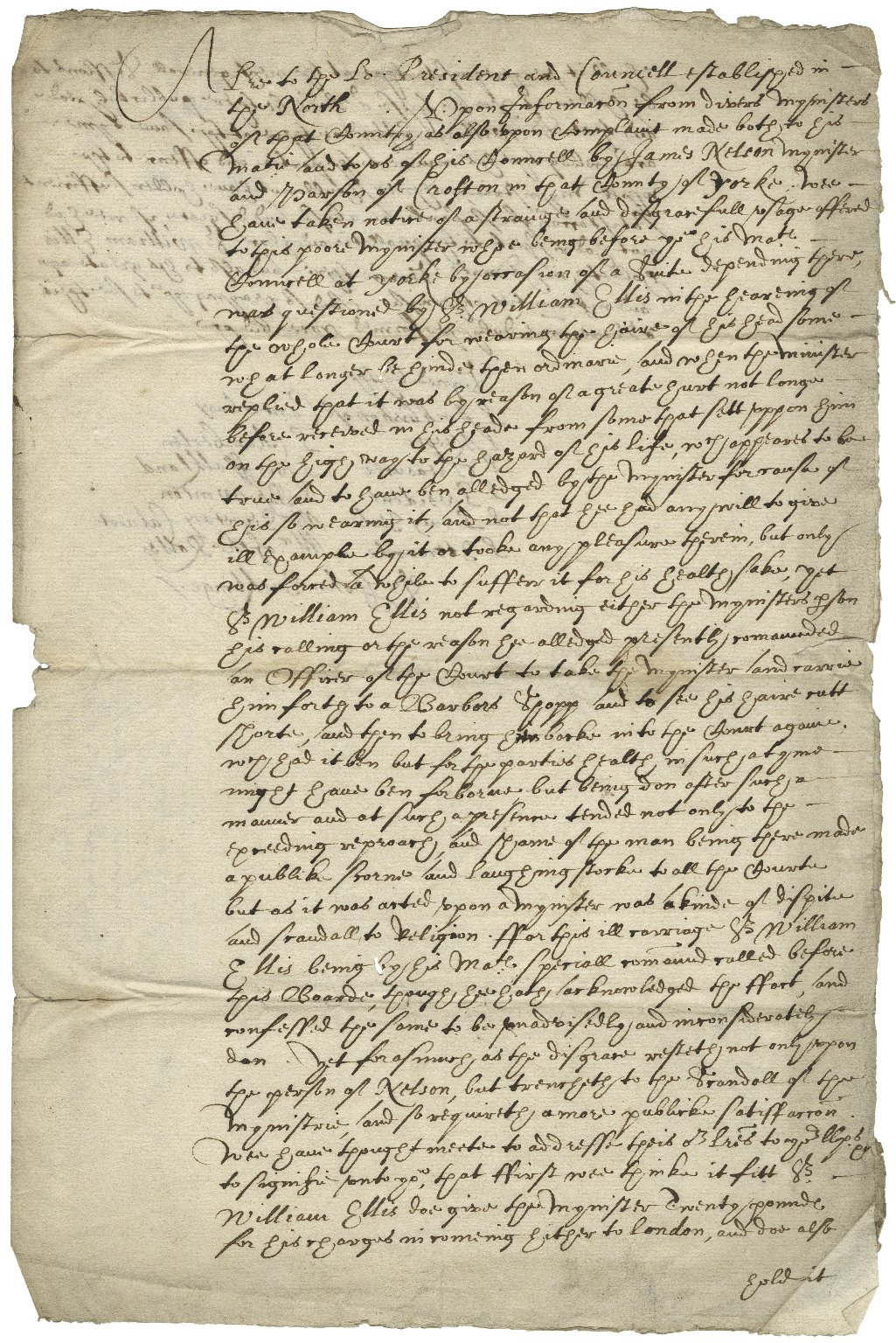 """Copy of a Privy Council order to Sir William Ellis, member of the King's Council at York, July 15, 1622, ordering him to a barber because he wore """"the haire of his head some what longer behinde then ordinarie..."""""""