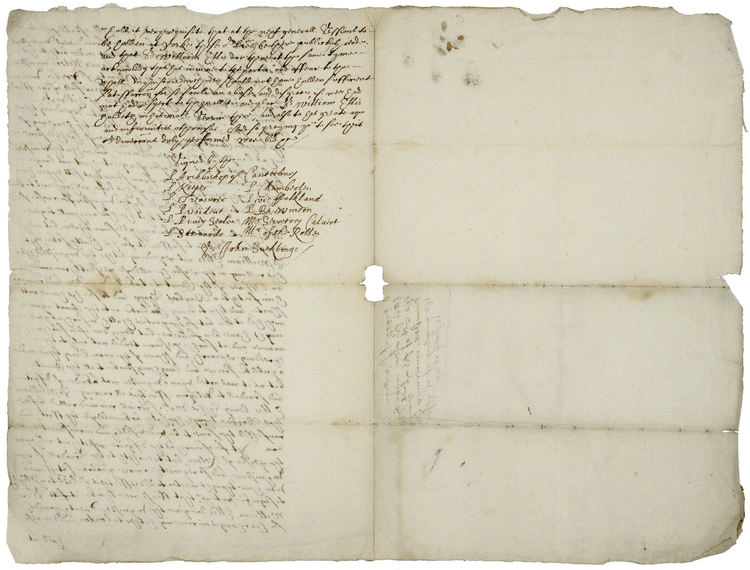 """Copy of a Privy Council order to Sir William Ellis, member of the King's Council at York, July 15, 1622, ordering him to a barber because he wore """"the haire of his head some what longer behinde..."""
