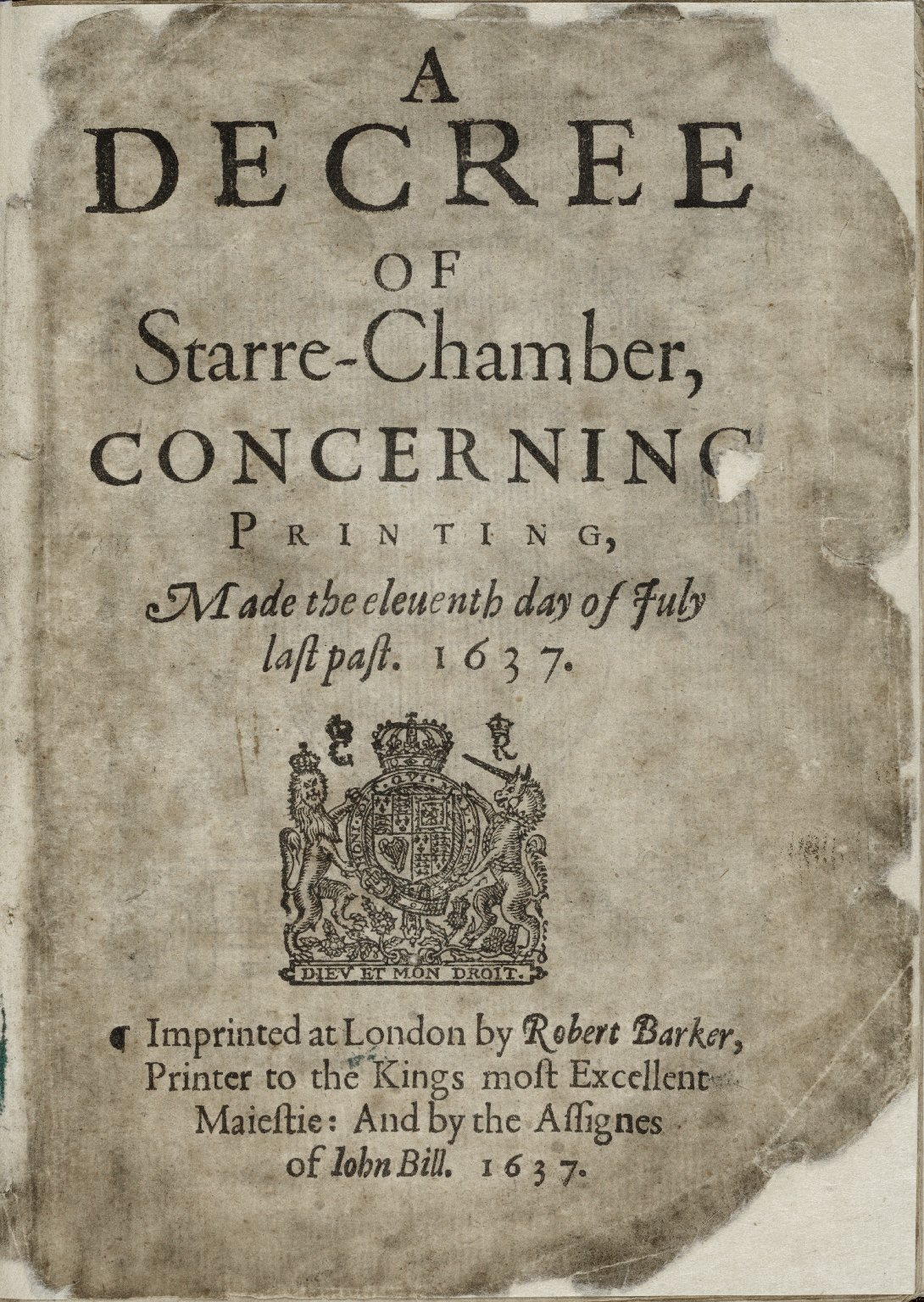 A decree of Starre-Chamber, concerning printing, made the eleuenth day of Iuly last past. 1637.